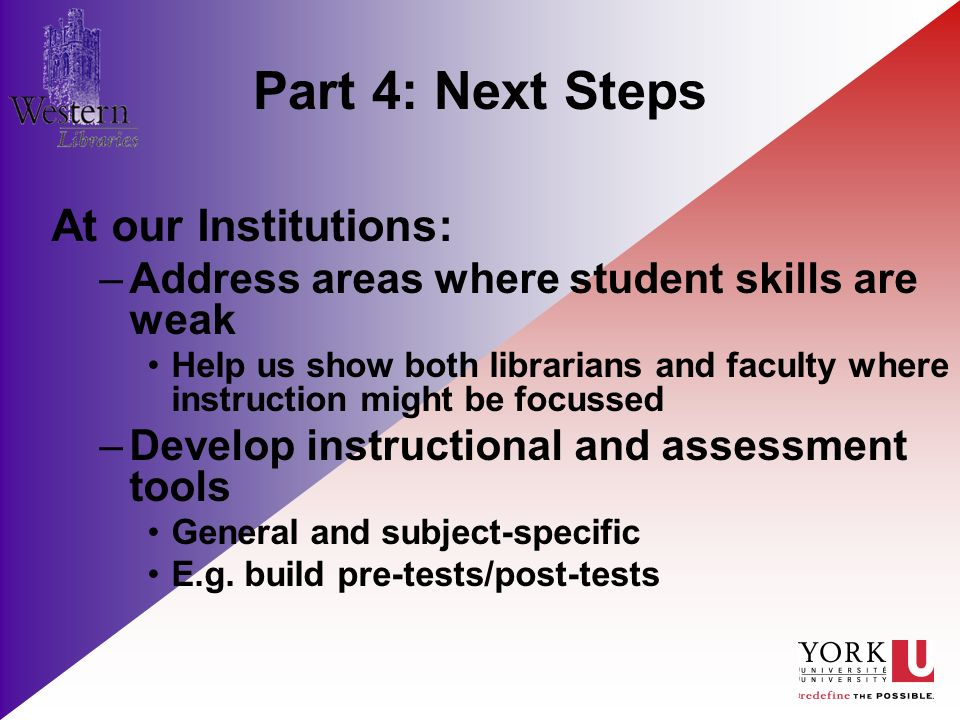 Part 4: Next Steps At our Institutions: –Address areas where student skills are weak Help us show both librarians and faculty where instruction might be focussed –Develop instructional and assessment tools General and subject-specific E.g.
