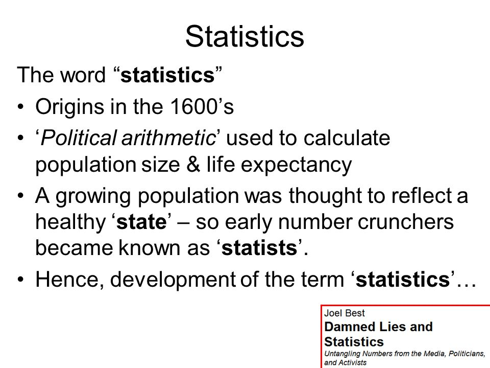 Published 2001 Published 2004 More Damned Lies and Statistics: How Numbers Confuse Public Issues