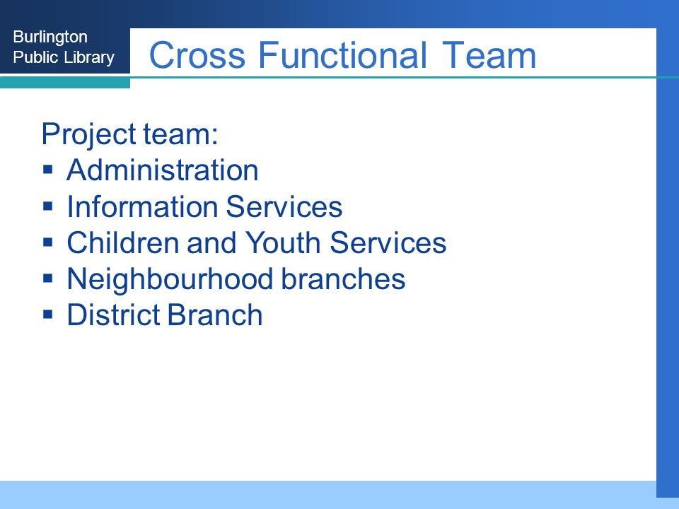 Burlington Public Library Cross Functional Team Project team: Administration Information Services Children and Youth Services Neighbourhood branches District Branch