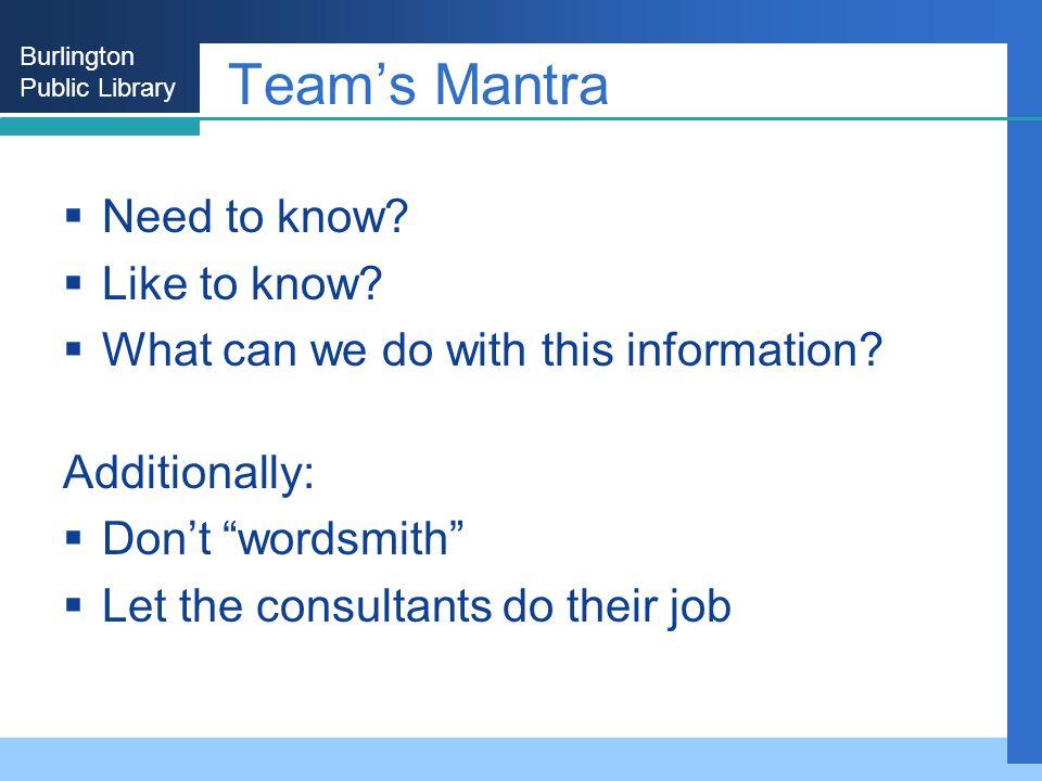 Burlington Public Library Teams Mantra Need to know.