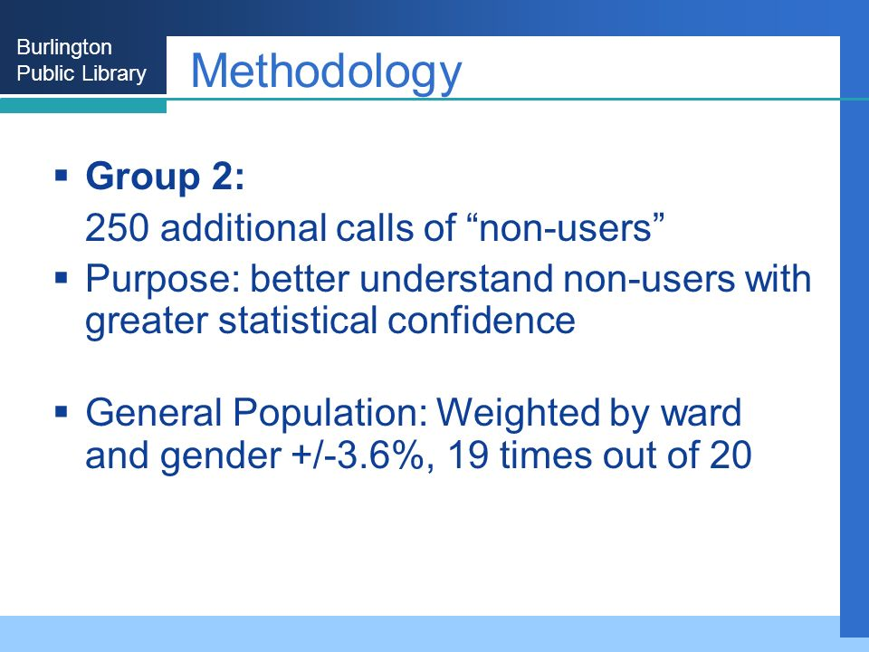 Burlington Public Library Methodology Group 2: 250 additional calls of non-users Purpose: better understand non-users with greater statistical confidence General Population: Weighted by ward and gender +/-3.6%, 19 times out of 20