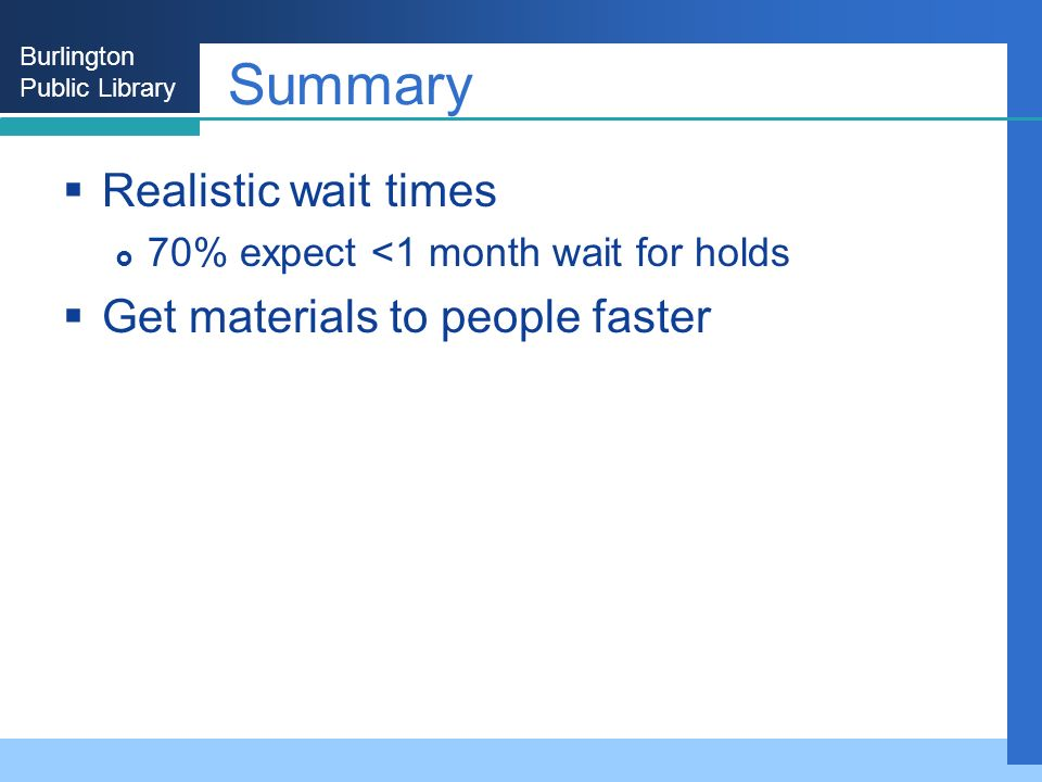 Burlington Public Library Summary Realistic wait times 70% expect <1 month wait for holds Get materials to people faster