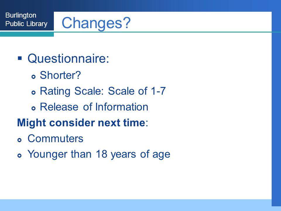 Burlington Public Library Changes. Questionnaire: Shorter.