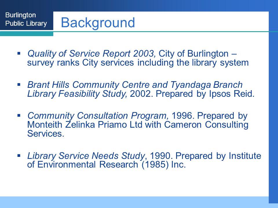 Burlington Public Library Background Quality of Service Report 2003, City of Burlington – survey ranks City services including the library system Bran