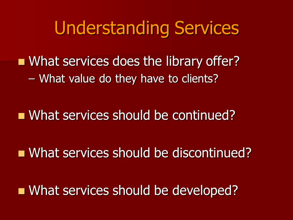 Understanding Services What services does the library offer.