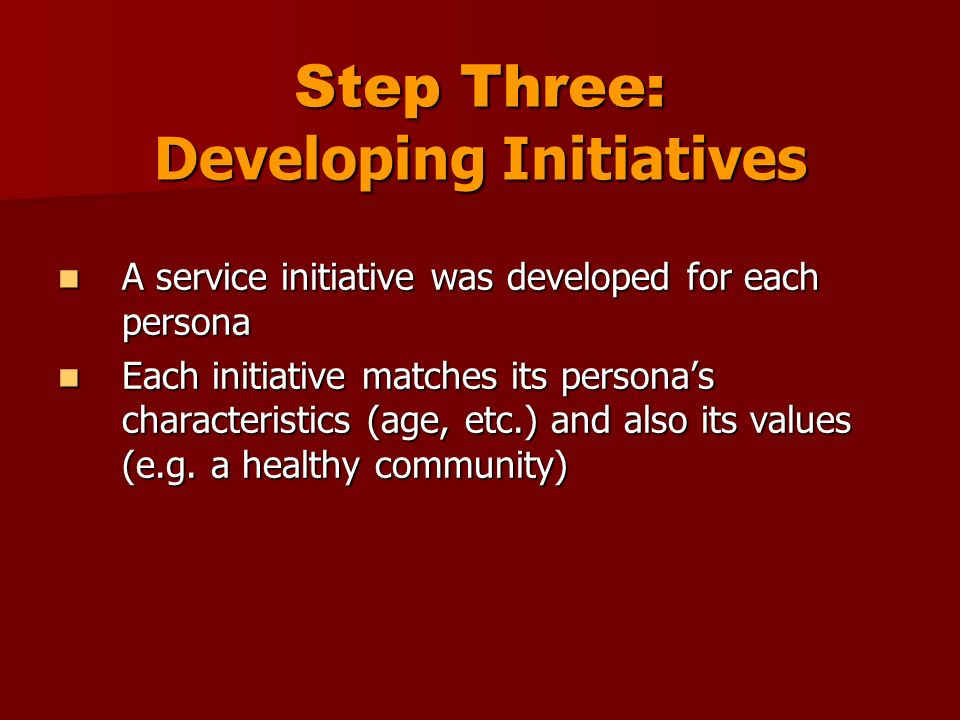 Step Three: Developing Initiatives A service initiative was developed for each persona A service initiative was developed for each persona Each initiative matches its personas characteristics (age, etc.) and also its values (e.g.