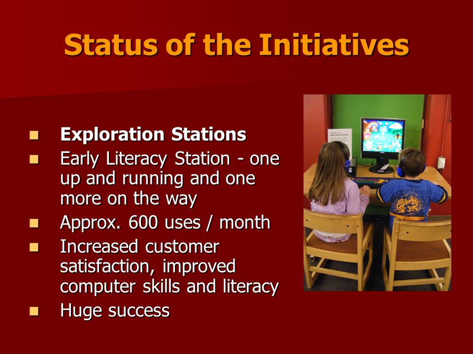 Status of the Initiatives Exploration Stations Exploration Stations Early Literacy Station - one up and running and one more on the way Early Literacy