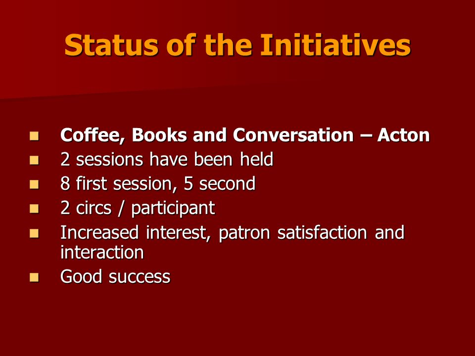 Status of the Initiatives Coffee, Books and Conversation – Acton Coffee, Books and Conversation – Acton 2 sessions have been held 2 sessions have been