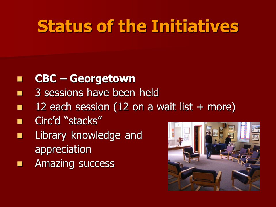 Status of the Initiatives CBC – Georgetown CBC – Georgetown 3 sessions have been held 3 sessions have been held 12 each session (12 on a wait list + m