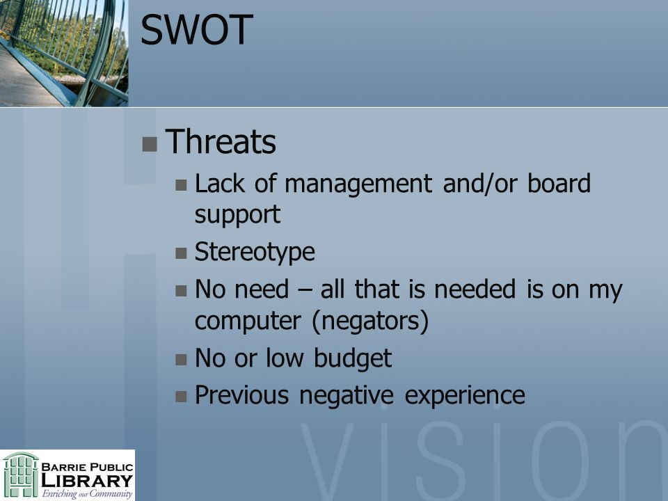 SWOT Threats Lack of management and/or board support Stereotype No need – all that is needed is on my computer (negators) No or low budget Previous negative experience