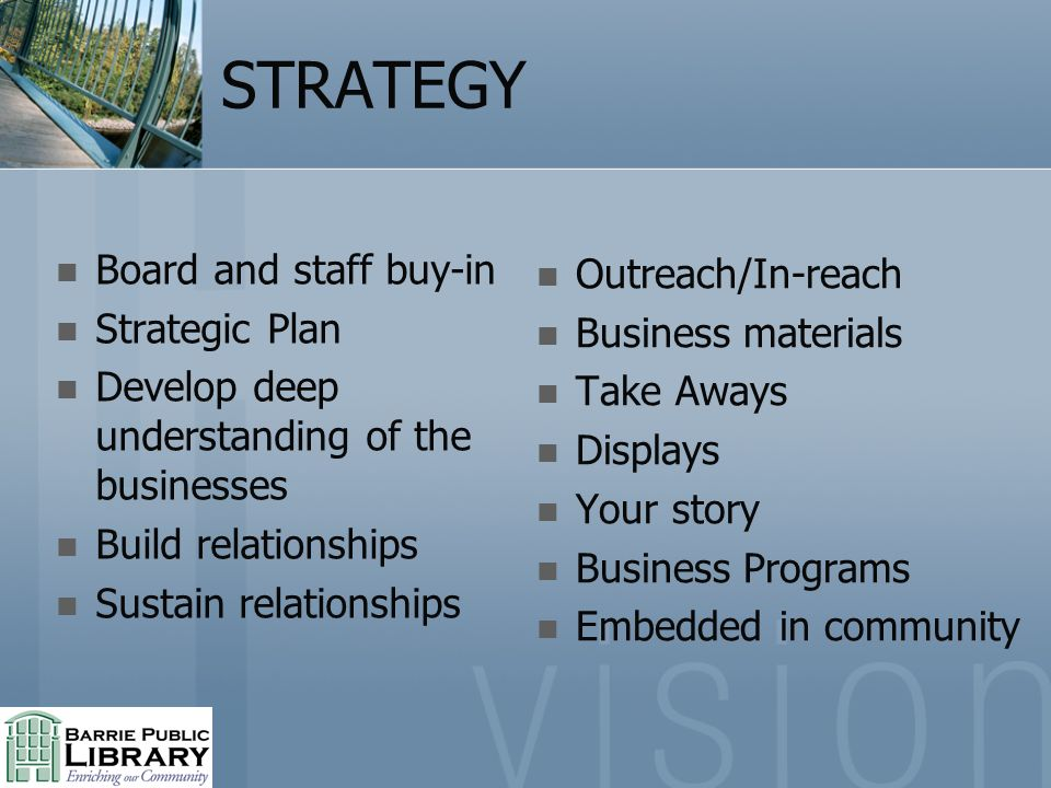 STRATEGY Board and staff buy-in Strategic Plan Develop deep understanding of the businesses Build relationships Sustain relationships Outreach/In-reac