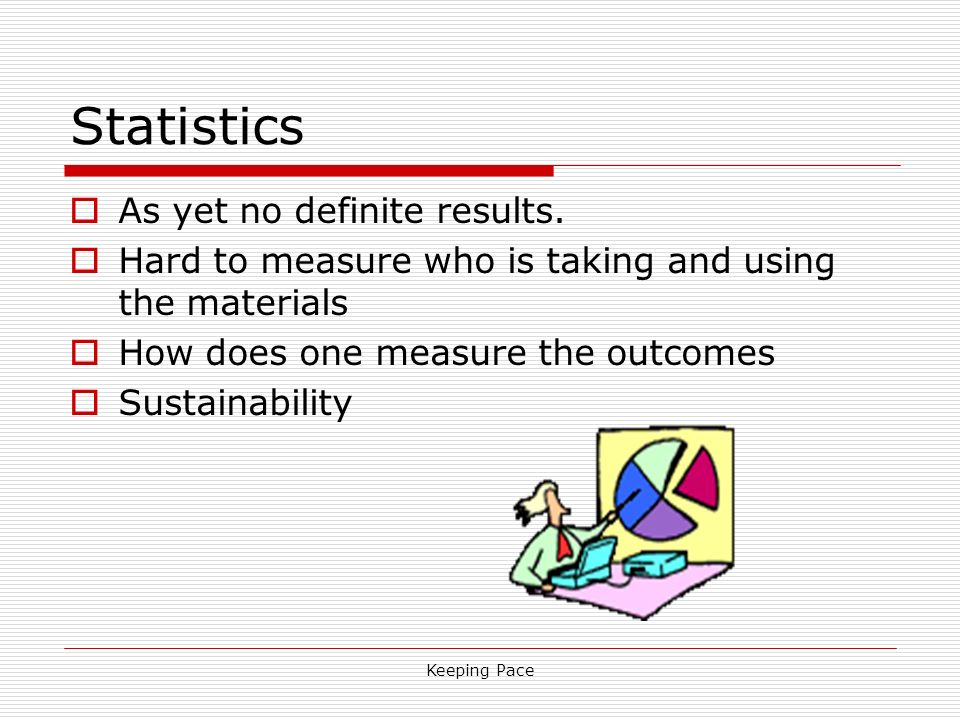 Keeping Pace Statistics As yet no definite results. Hard to measure who is taking and using the materials How does one measure the outcomes Sustainabi