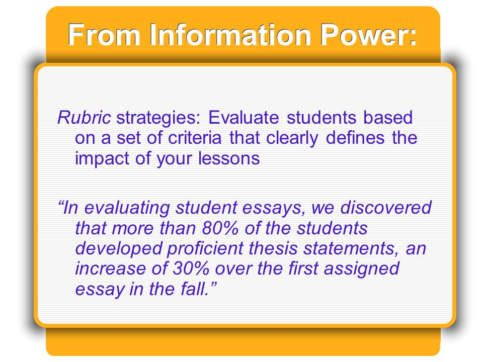 From Information Power: Rubric strategies: Evaluate students based on a set of criteria that clearly defines the impact of your lessons In evaluating student essays, we discovered that more than 80% of the students developed proficient thesis statements, an increase of 30% over the first assigned essay in the fall.