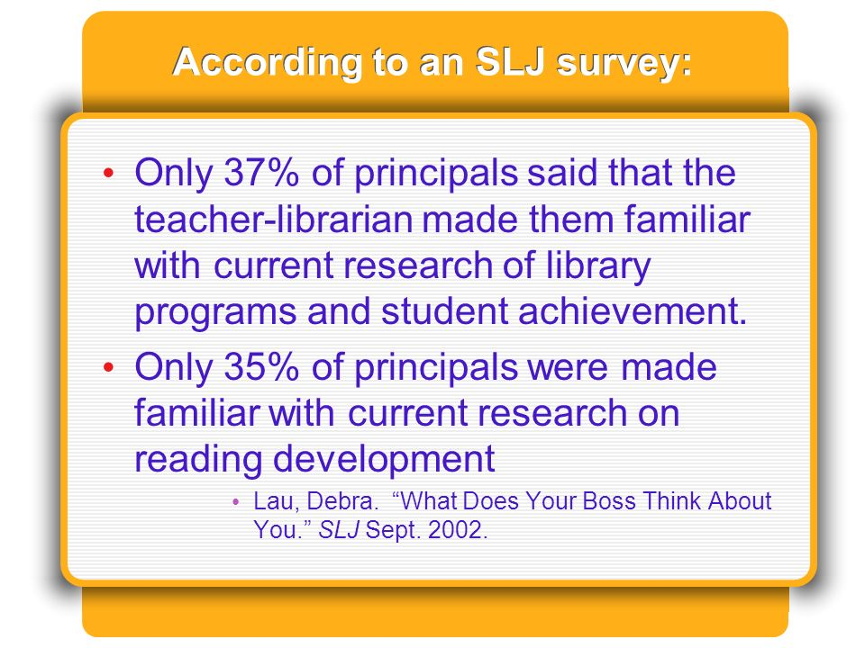 According to an SLJ survey: Only 37% of principals said that the teacher-librarian made them familiar with current research of library programs and student achievement.