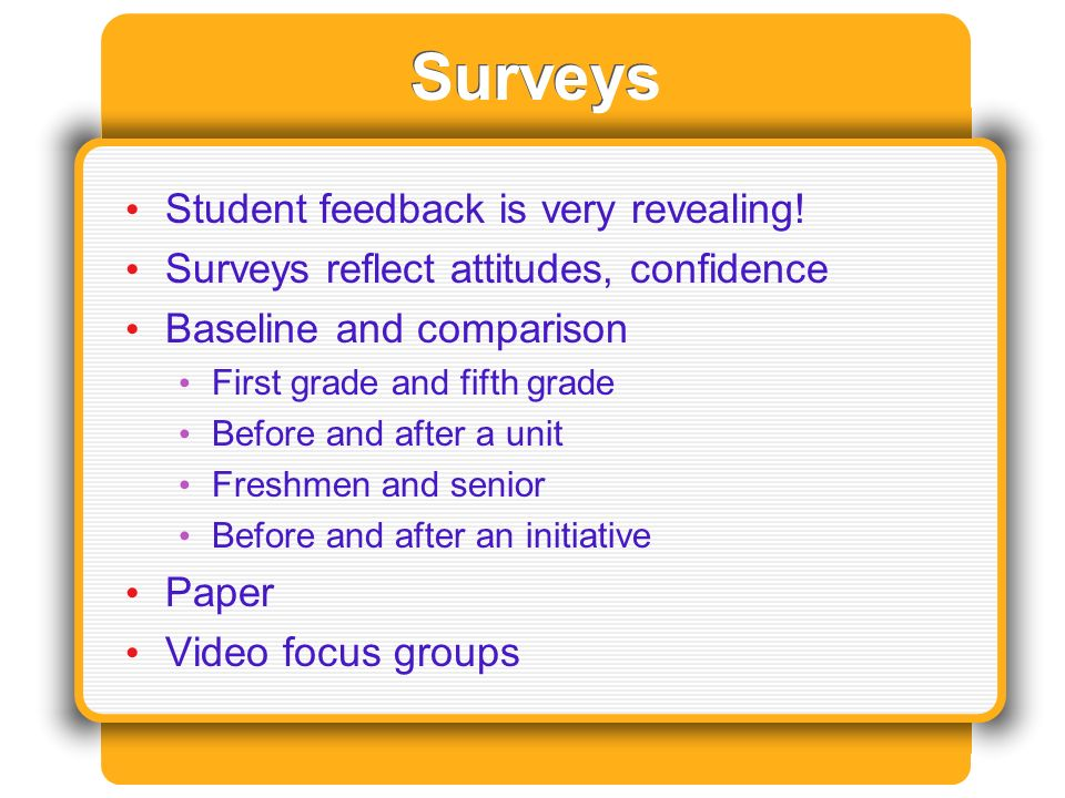 Surveys Student feedback is very revealing.