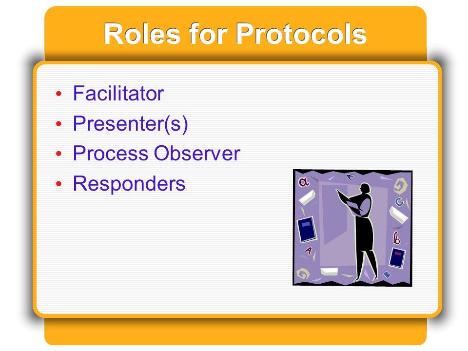 Roles for Protocols Facilitator Presenter(s) Process Observer Responders