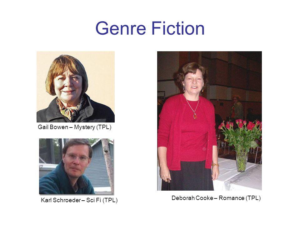 Genre Fiction Deborah Cooke – Romance (TPL) Gail Bowen – Mystery (TPL) Karl Schroeder – Sci Fi (TPL)