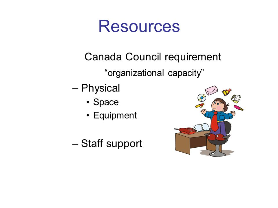Resources Canada Council requirement organizational capacity –Physical Space Equipment –Staff support