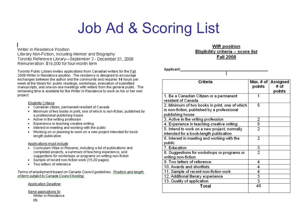 Job Ad & Scoring List