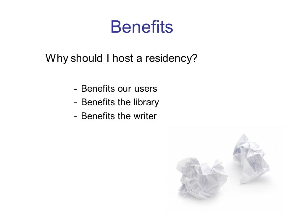 Benefits Our Users –Supports aspiring writers through the opportunity to work with and learn from a professional writer –Supports avid readers by introducing them to working writers and providing insight into the creative process –Provides a unique and free learning opportunity that is not widely available
