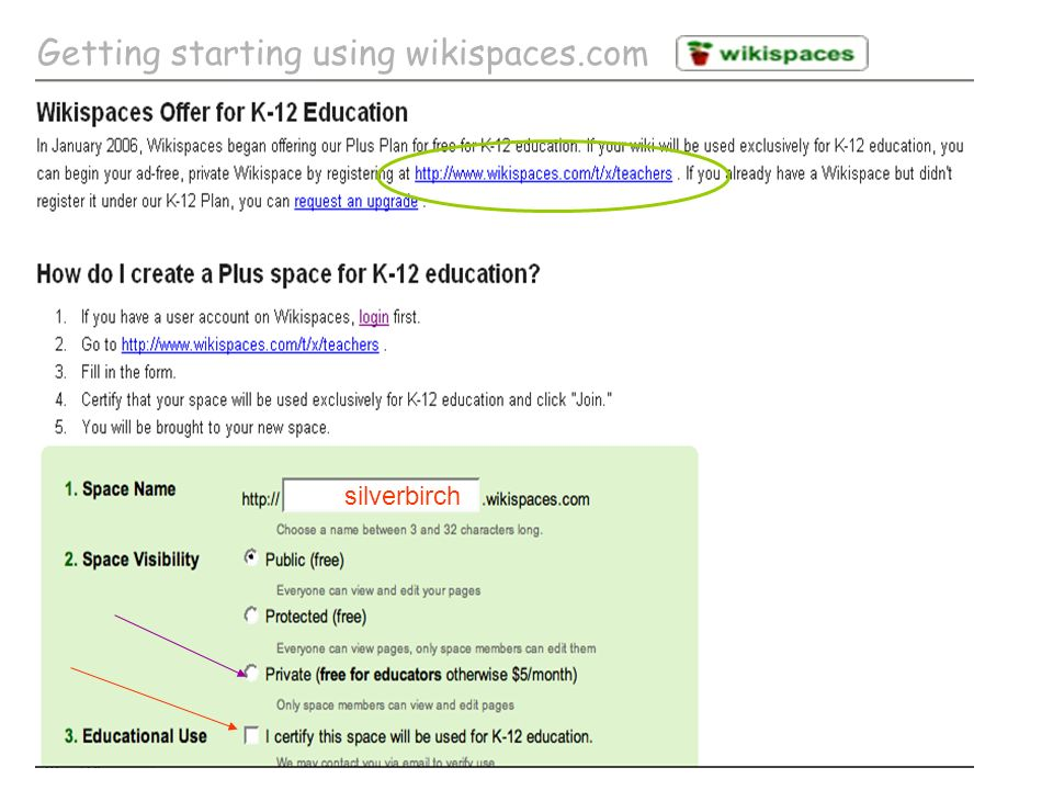 silverbirch Getting starting using wikispaces.com