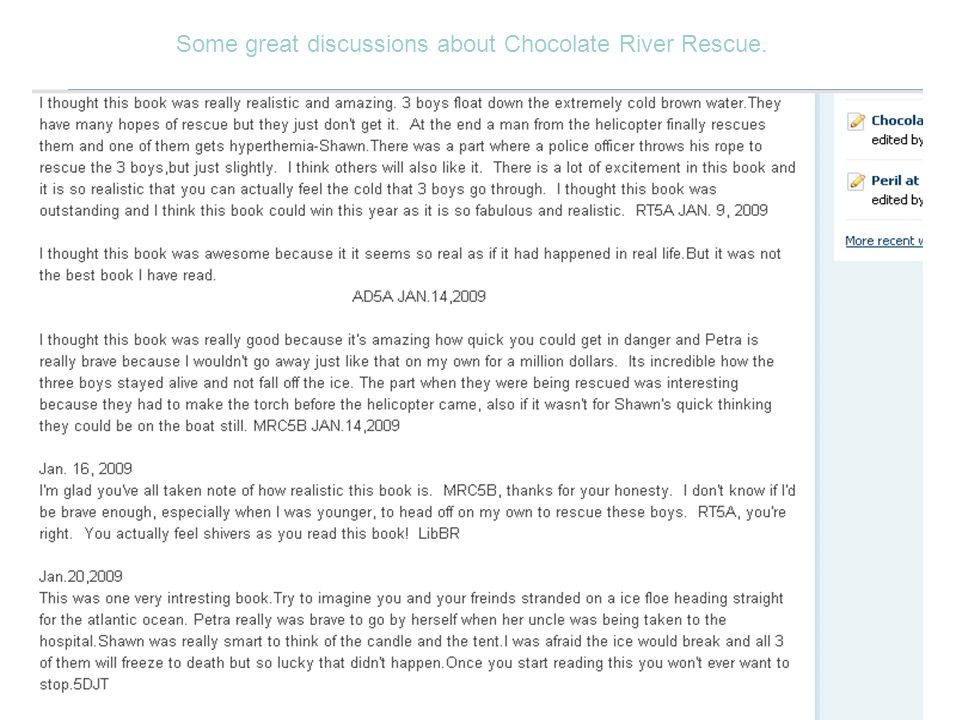 Some great discussions about Chocolate River Rescue.