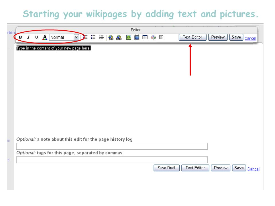 Starting your wikipages by adding text and pictures.