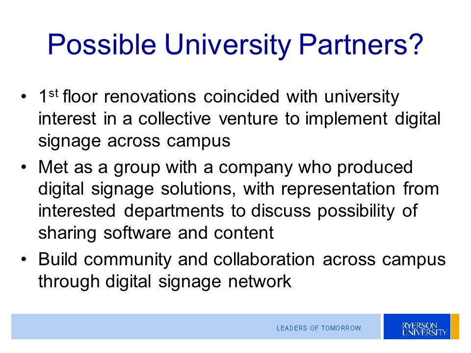 Possible University Partners.