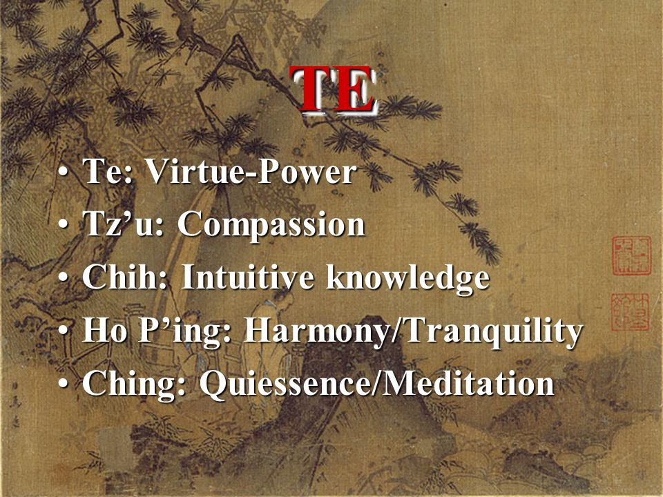 TETE Te: Virtue-PowerTe: Virtue-Power Tzu: CompassionTzu: Compassion Chih: Intuitive knowledgeChih: Intuitive knowledge Ho Ping: Harmony/TranquilityHo Ping: Harmony/Tranquility Ching: Quiessence/MeditationChing: Quiessence/Meditation