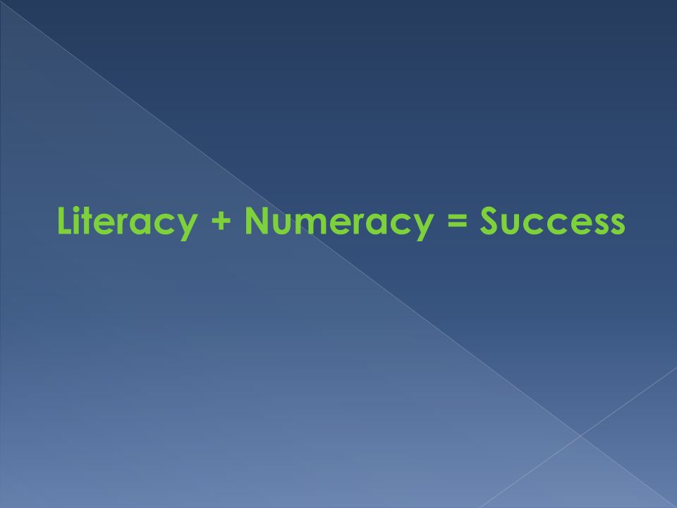 Literacy + Numeracy = Success