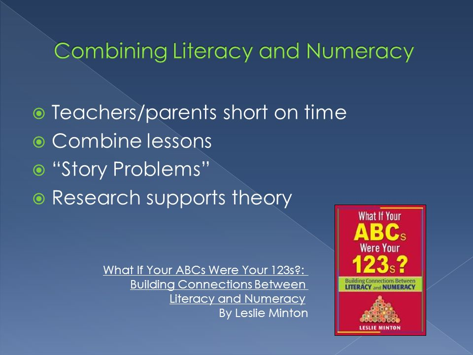 Teachers/parents short on time Combine lessons Story Problems Research supports theory What If Your ABCs Were Your 123s?: Building Connections Between