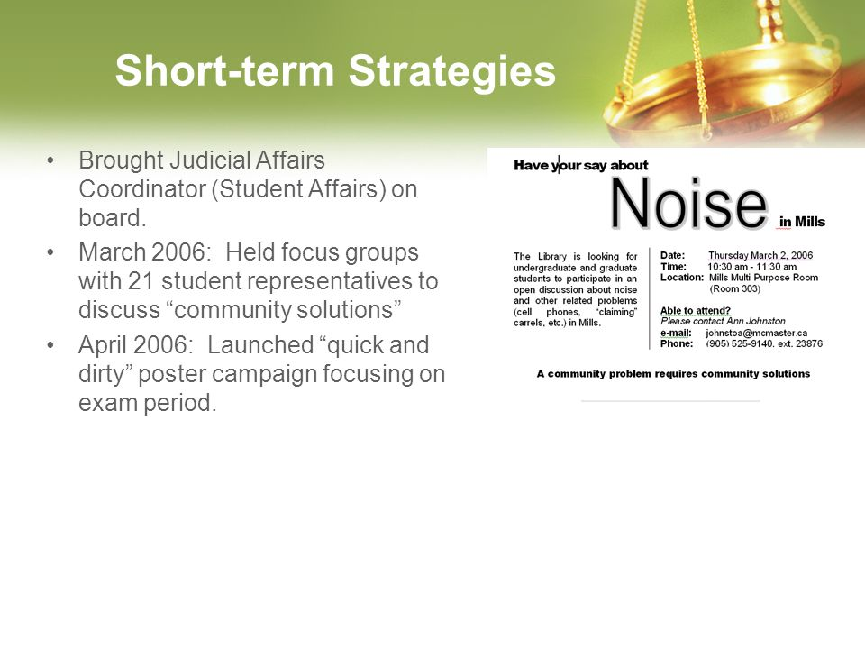 Short-term Strategies Brought Judicial Affairs Coordinator (Student Affairs) on board. March 2006: Held focus groups with 21 student representatives t