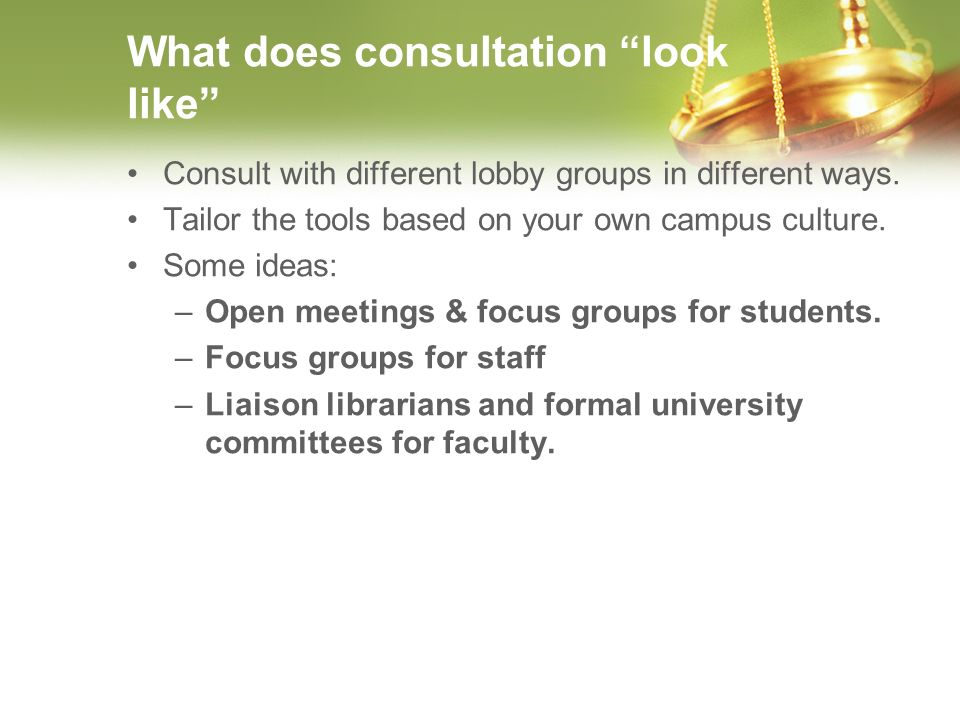 What does consultation look like Consult with different lobby groups in different ways.
