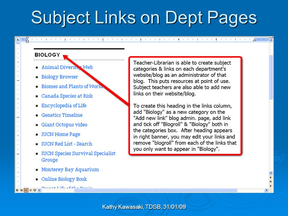 Kathy Kawasaki, TDSB, 31/01/09 Subject Links on Dept Pages