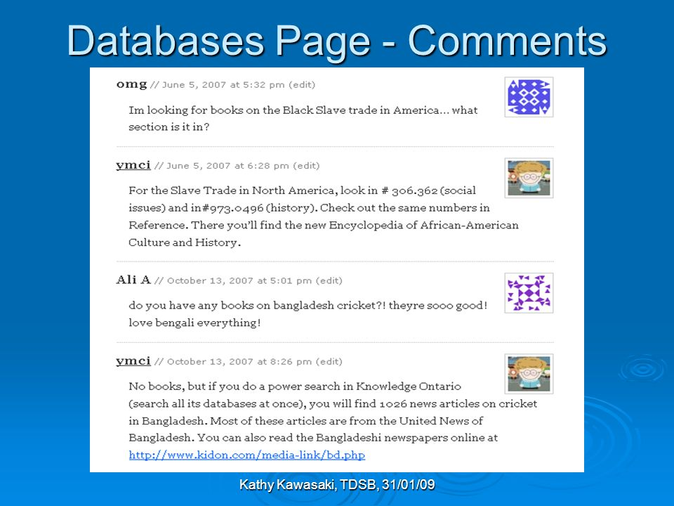 Kathy Kawasaki, TDSB, 31/01/09 Databases Page - Comments