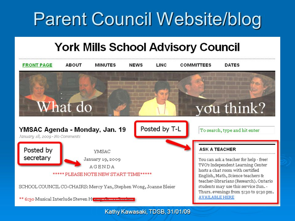 Kathy Kawasaki, TDSB, 31/01/09 Parent Council Website/blog