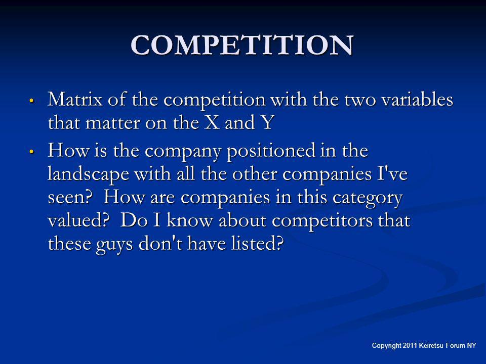 COMPETITION Matrix of the competition with the two variables that matter on the X and Y Matrix of the competition with the two variables that matter on the X and Y How is the company positioned in the landscape with all the other companies I ve seen.