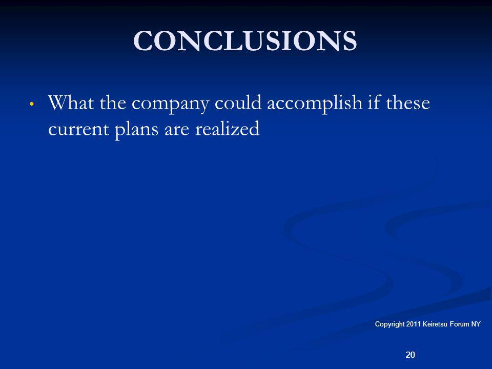 20 CONCLUSIONS What the company could accomplish if these current plans are realized 20 Copyright 2011 Keiretsu Forum NY