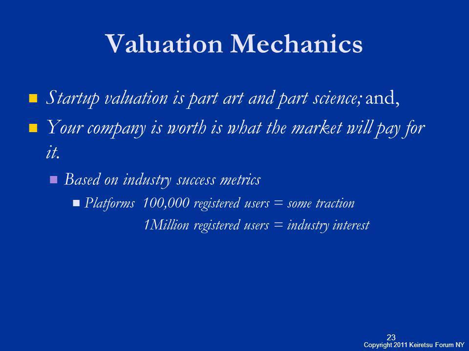 Valuation Mechanics Startup valuation is part art and part science; and, Your company is worth is what the market will pay for it.