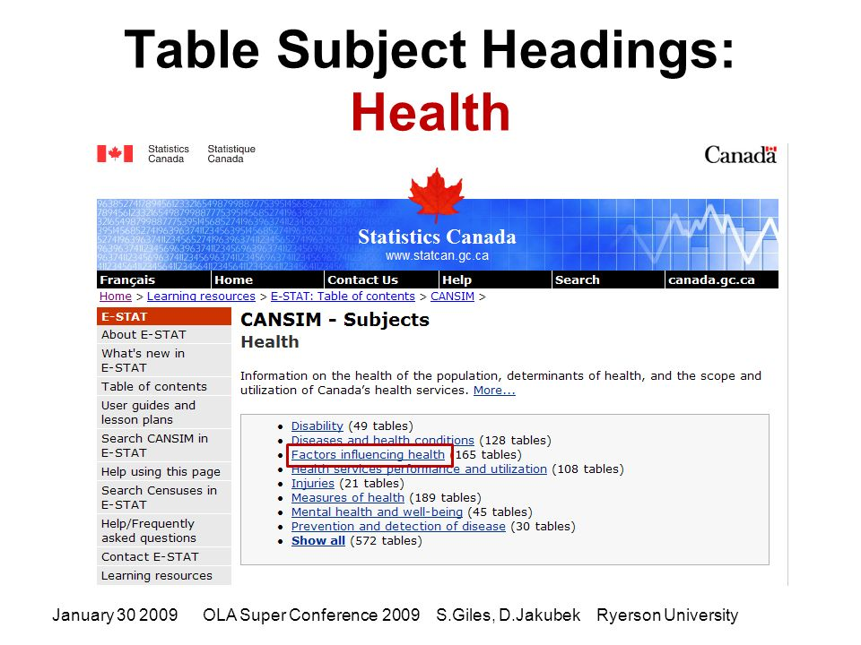 January 30 2009OLA Super Conference 2009 S.Giles, D.Jakubek Ryerson University Table Subject Headings: Health