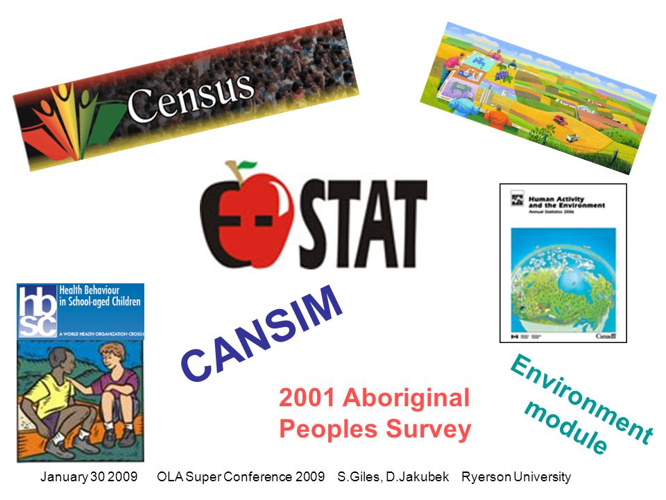 January 30 2009OLA Super Conference 2009 S.Giles, D.Jakubek Ryerson University CANSIM Environment module 2001 Aboriginal Peoples Survey