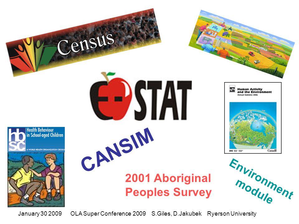 January 30 2009OLA Super Conference 2009 S.Giles, D.Jakubek Ryerson University E-Stat – Why.