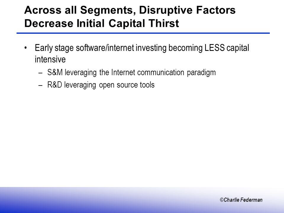 ©Charlie Federman Across all Segments, Disruptive Factors Decrease Initial Capital Thirst Early stage software/internet investing becoming LESS capital intensive –S&M leveraging the Internet communication paradigm –R&D leveraging open source tools