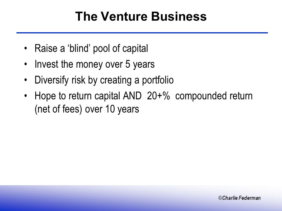 ©Charlie Federman The Venture Business Raise a blind pool of capital Invest the money over 5 years Diversify risk by creating a portfolio Hope to return capital AND 20+% compounded return (net of fees) over 10 years
