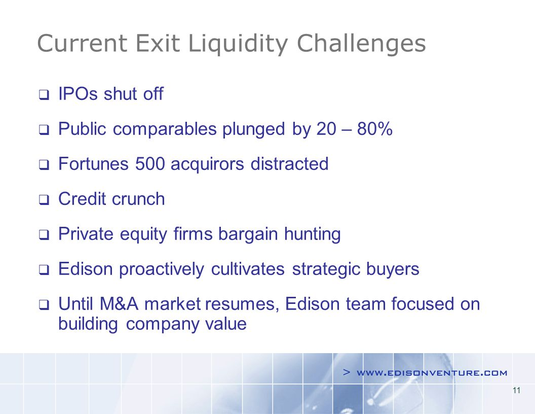 11 Current Exit Liquidity Challenges IPOs shut off Public comparables plunged by 20 – 80% Fortunes 500 acquirors distracted Credit crunch Private equity firms bargain hunting Edison proactively cultivates strategic buyers Until M&A market resumes, Edison team focused on building company value