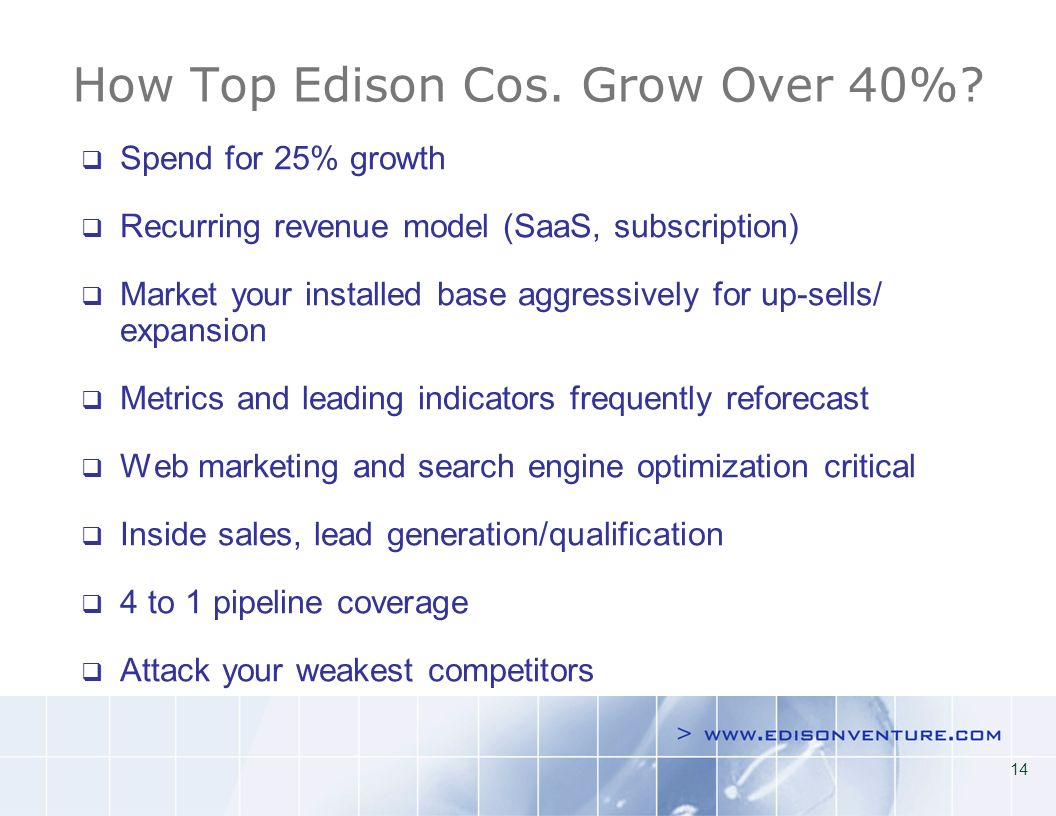 14 How Top Edison Cos. Grow Over 40%.