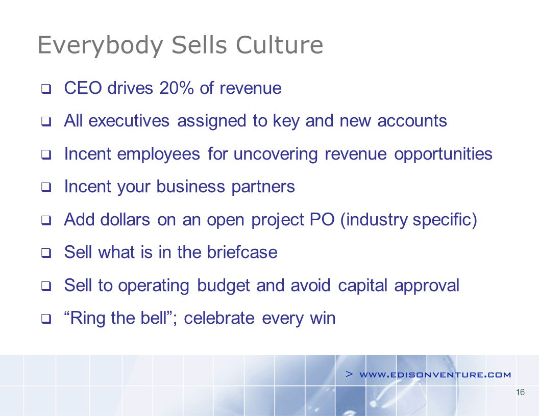 16 Everybody Sells Culture CEO drives 20% of revenue All executives assigned to key and new accounts Incent employees for uncovering revenue opportunities Incent your business partners Add dollars on an open project PO (industry specific) Sell what is in the briefcase Sell to operating budget and avoid capital approval Ring the bell; celebrate every win