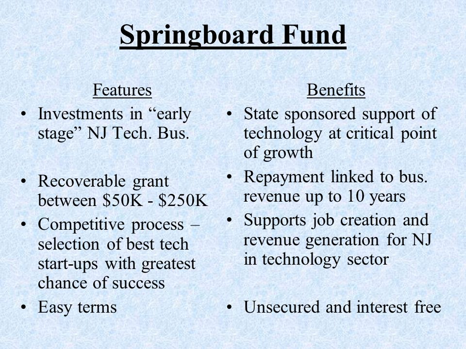 Springboard Fund Features Investments in early stage NJ Tech.