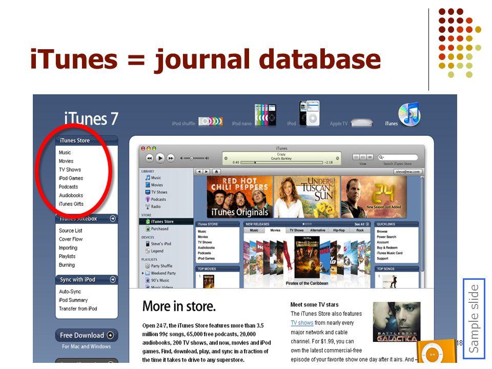 18 iTunes = journal database Sample slide