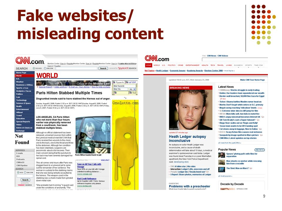 9 Fake websites/ misleading content